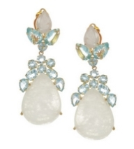 24-karat gold-plated moonstone and quartz clip earrings