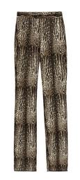 Animal-print wool and silk-blend pants