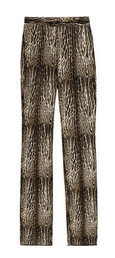Animal-print wool and silk-blend pants