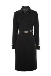Belted crepe shirt dress