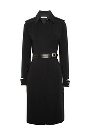 Belted crepe shirt dress