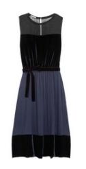 Chiffon, velvet and jersey dress