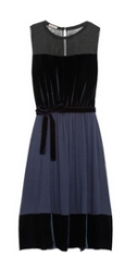 Chiffon, velvet and jersey dress