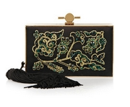 Daphne embroidered satin and metal box clutch