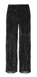 Embellished silk straight-leg pants