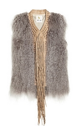Fringed shearling and suede gilet