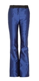 High-rise silk and cotton-blend sateen flared pants