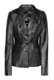 Hooded leather blazer