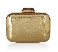 Morley croc-embossed metal box clutch