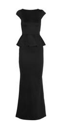 Woven jersey peplum maxi dress